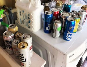 beer cans on a counter